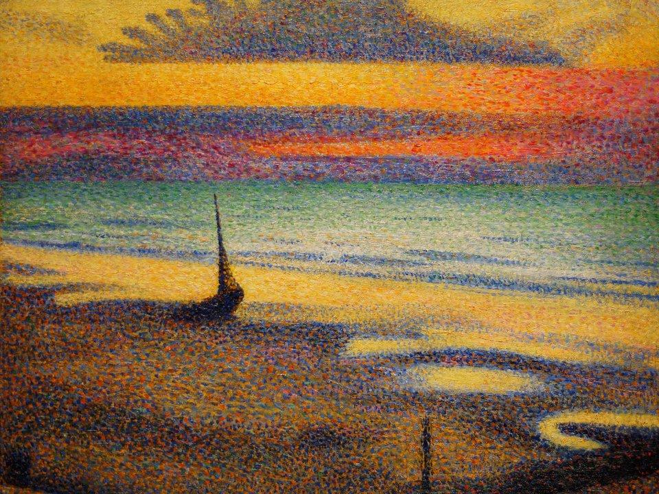 Plaża wHeist Źródło: Georges Lemmen, Plaża wHeist, 1891, olej na drewnie, domena publiczna.