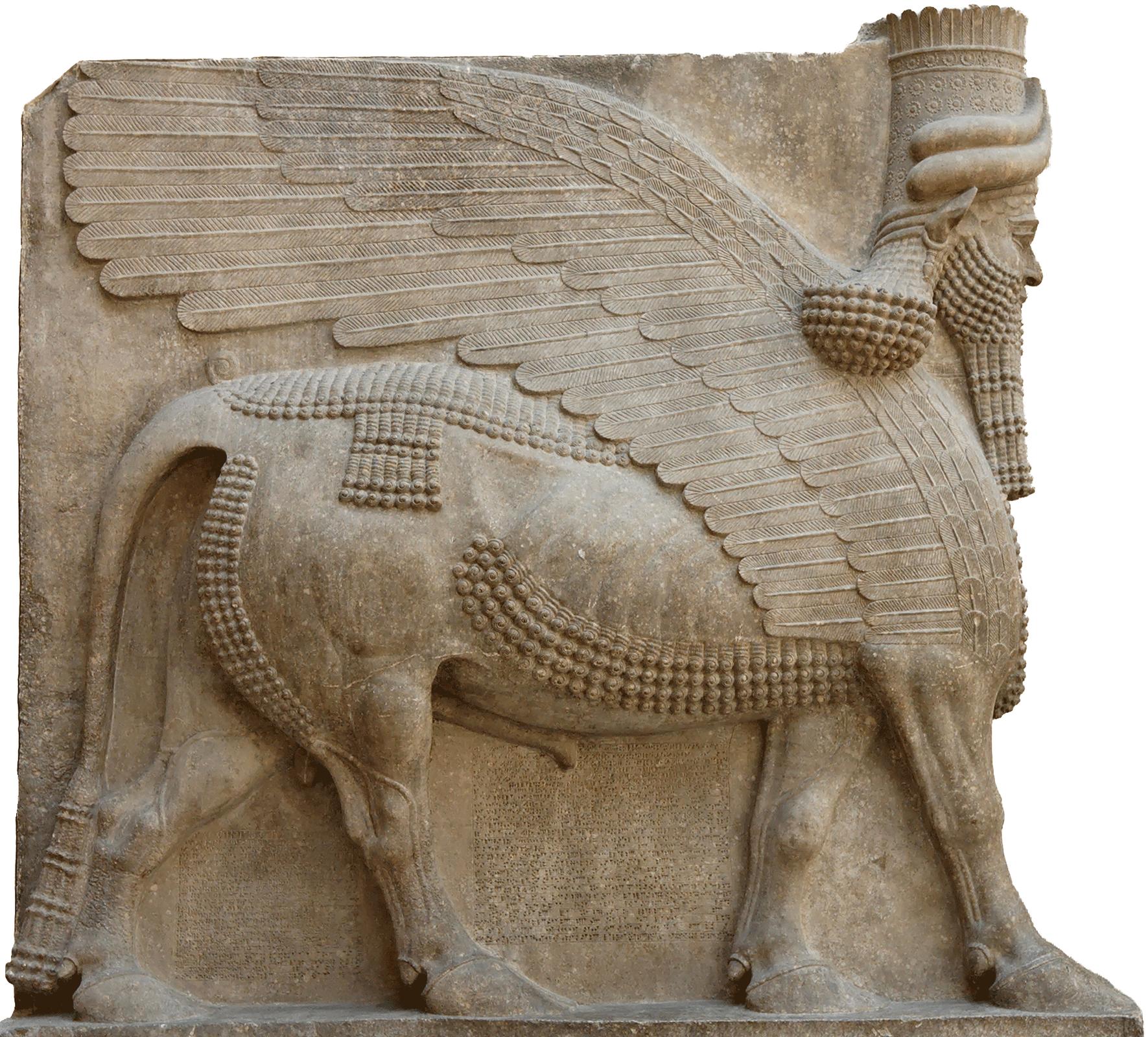 Postać uskrzydlonego byka. Takie rzeźby stawiano wasyryjskich pałacach. Płaskorzeźba znajduje się obecnie wLuwrze wParyżu. Postać uskrzydlonego byka. Takie rzeźby stawiano wasyryjskich pałacach. Płaskorzeźba znajduje się obecnie wLuwrze wParyżu. Źródło: domena publiczna.