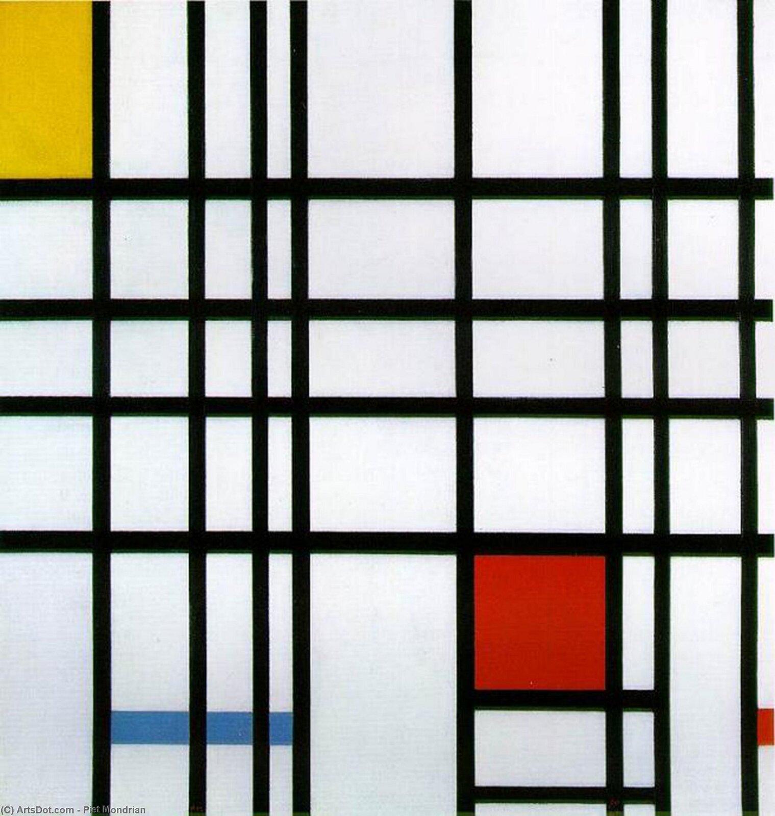"""Ilustracja przedstawia obraz Pieta Mondriana pt. """"Kompozycja zczerwonym, żółtym iniebieskim"""". Ukazuje on czarne pionowe ipoziome linie tworzące kolorowe prostokąty."""