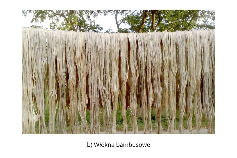 Włókna bambusowe są wytwarzane zcelulozy uzyskiwanej zpędów bambusa. Wpodobny sposób wytwarza się celulozę zdrzew (świerku, sosny, buku) iwykorzystuje się ją do produkcji przędzy wiskozowej