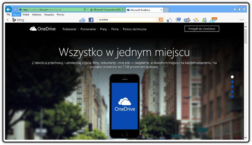 Zrzut okna logowania na dysku OneDrive
