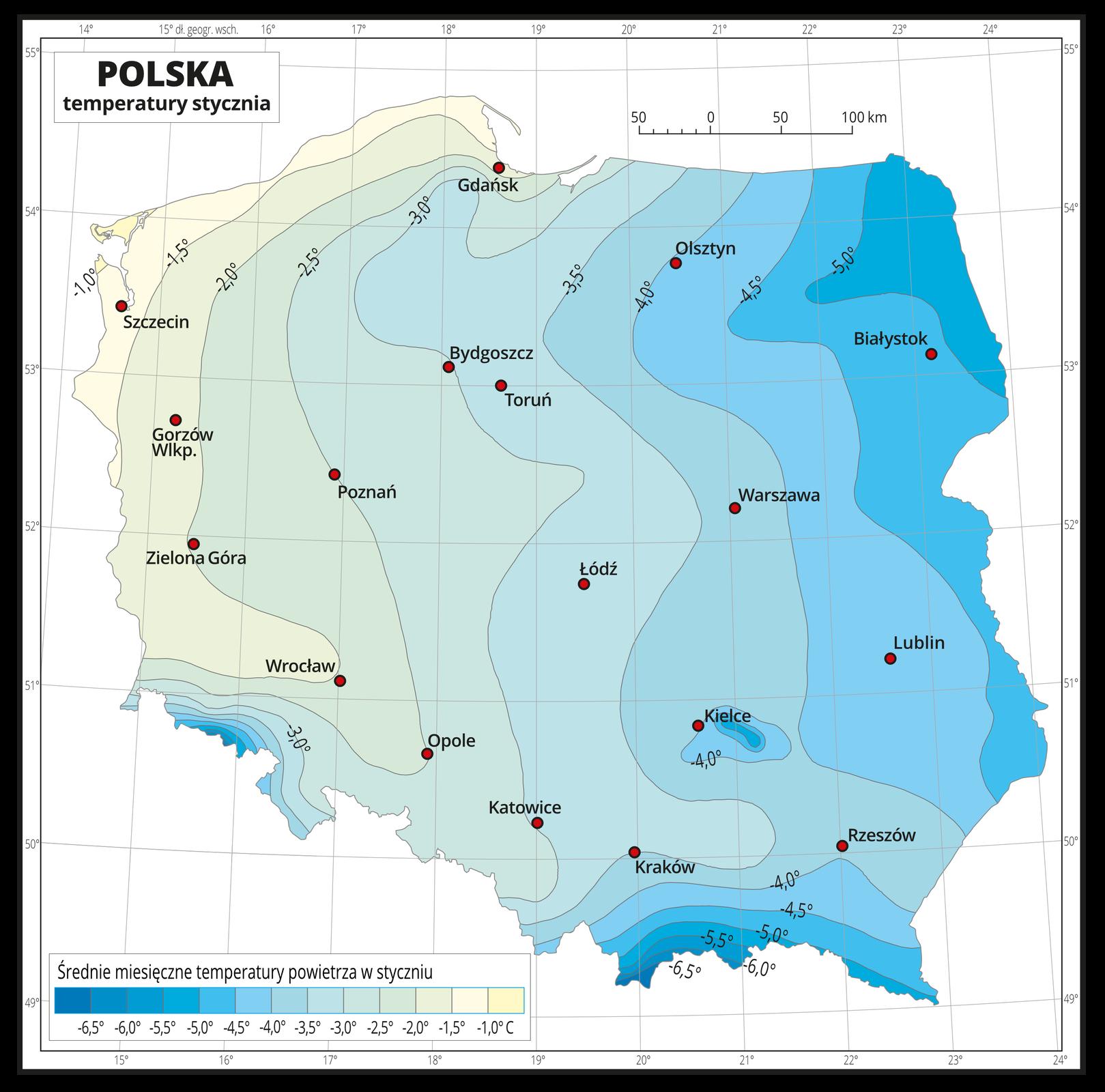 Ilustracja przedstawia mapę Polski. Na mapie kolorami zaznaczono średnie miesięczne temperatury powietrza wstyczniu. Zlewej strony mapy kolor jest żółty, wkierunku wschodnim, wprawo ipołudniowym, wdół mapy przechodzi wbłękitny, dalej niebieski iciemnoniebieski. Na izotermach opisano średnią miesięczną temperaturę stycznia co pół stopnia. Czerwonymi punktami zaznaczono miasta wojewódzkie. Mapa pokryta jest siatką równoleżników ipołudników. Dookoła mapy jest biała ramka, wktórej opisane są współrzędne geograficzne. Poniżej mapy wlegendzie umieszczono prostokątny poziomy pasek. Pasek podzielono na trzynaście kolorów. Zlewej strony ciemnoniebieskie do jasnoniebieskiego, środek błękitny, zprawej strony –seledynowy, kremowy iżółty. Każda część paska obrazuje dziesięciostopniowy przedział średniej miesięcznej temperatury powietrza wstyczniu od minus sześć ipół stopnia Celsjusza – niebieskie do minus jeden stopnia Celsjusza – żółte, co pół stopnia.