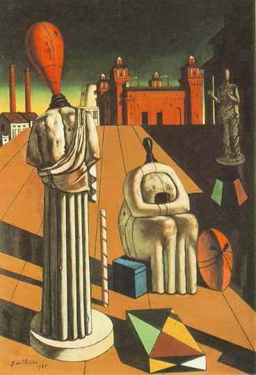 Giorgio de Chirico, Niepokojące muzy, 1947 (replika obrazu z1916 r.), olej na płótnie, 97 x66 cm, University of Iowa Museum of Art Giorgio de Chirico, Niepokojące muzy, 1947 (replika obrazu z1916 r.), olej na płótnie, 97 x66 cm, University of Iowa Museum of Art Źródło: domena publiczna, [online], dostępny winternecie: http://n.wikipedia.org/wiki/File:The_Disquieting_Muses.jpg [dostęp 25.10.2015 r.].