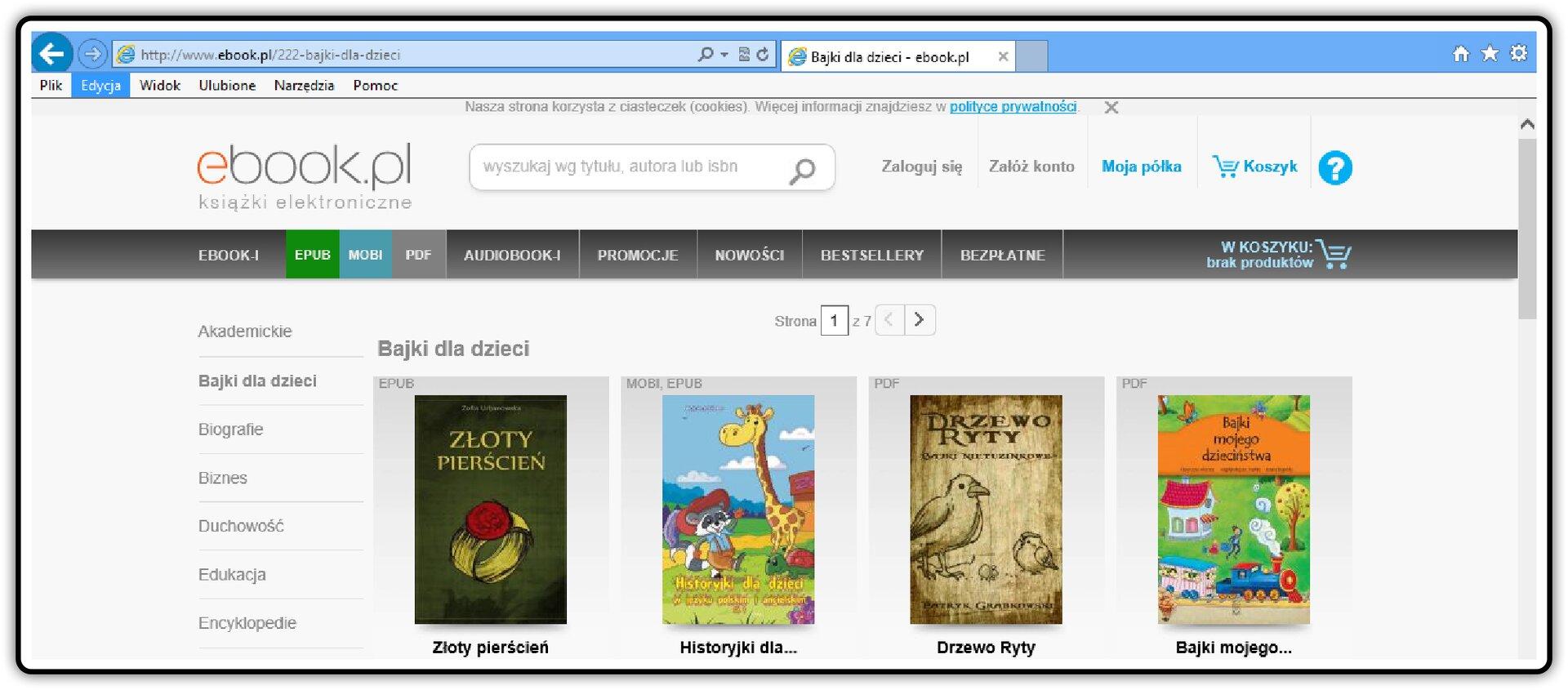 Zrzut okna strony http://www.ebook.pl