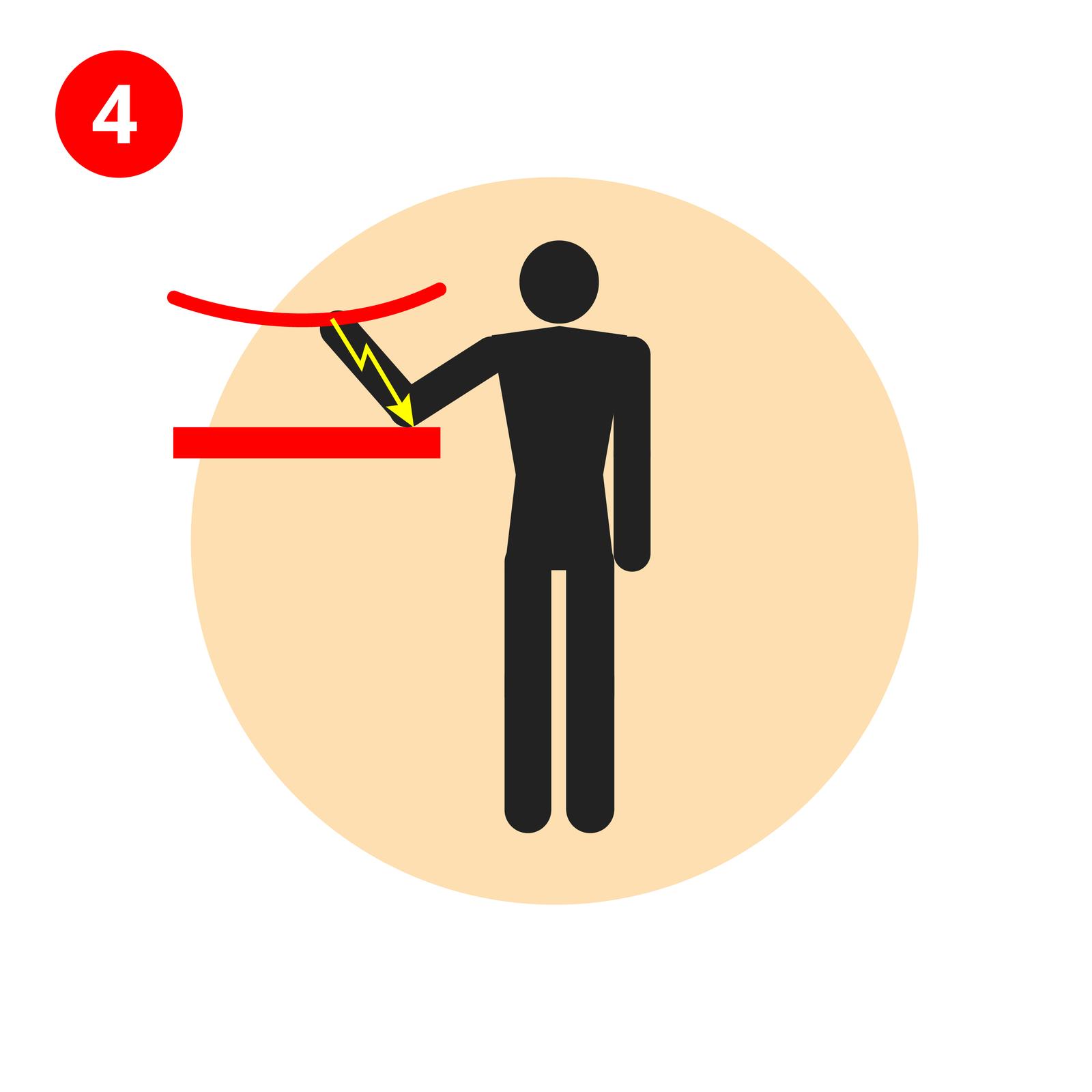 Ilustracja 4 przedstawia człowieka stojącego przodem do odbiorcy. Postać wspiera się łokciem oczerwoną półkę, która jest zawieszona po lewej stronie na wysokości pasa. Wspomniana osoba dotyka dłonią przewodu elektrycznego wiszącego nad półką. Łuk przepływu prądu płynie od dłoni dotykającej przewód elektryczny do łokcia wspartego na półce. Łuk ma kształt żółtej strzałki skierowanej grotem wdół.