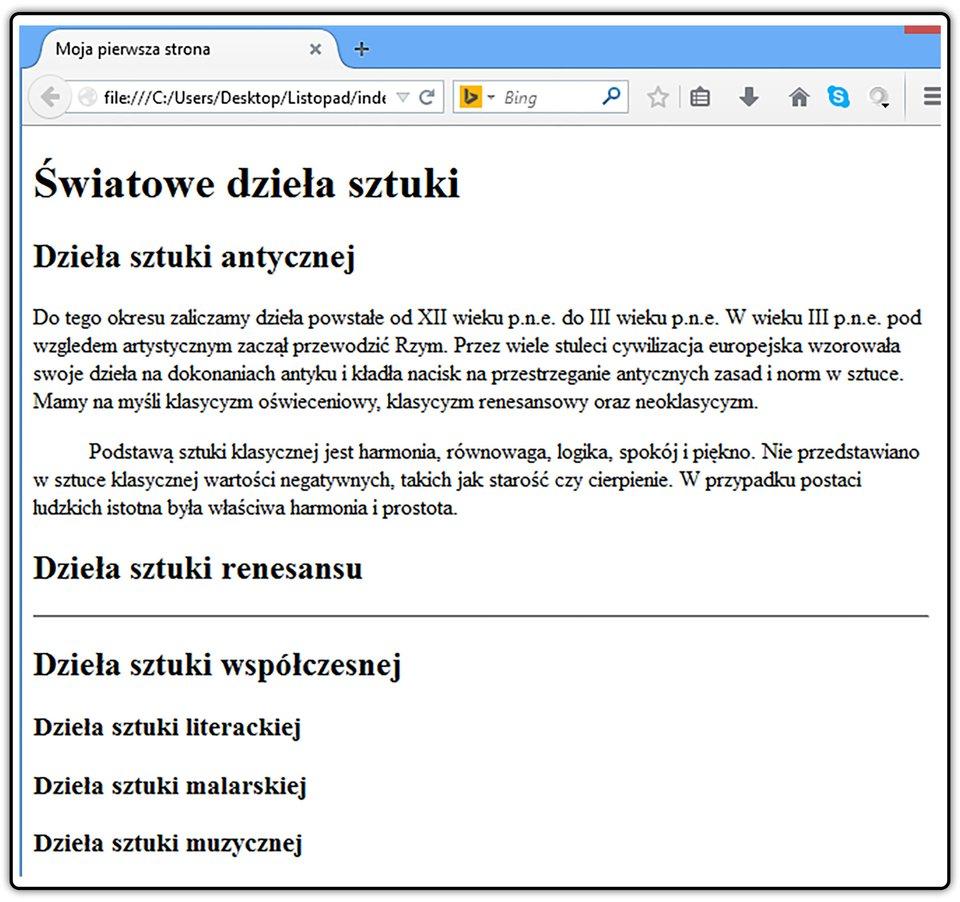 Zrzut widoku strony dokumentu HTML zwidocznymi akapitami izastosowaniem encji do utworzenia wcięcia drugiego zakapitów
