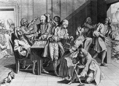 Kapitan Jenkins pokazuje swojąokaleczoną, pozbawioną ucha głowę premierowi Wielkiej Brytanii Robertowi Walpole'owi. Satyryczna rycina z1738 r. Premier siedzi za biurkiem iodwraca zniechęcią wzrok; był przeciwnikiem nowej wojny zHiszpanią iprawdopodobnie powiązanej znią sojuszami Francją. Kapitan Jenkins pokazuje swojąokaleczoną, pozbawioną ucha głowę premierowi Wielkiej Brytanii Robertowi Walpole'owi. Satyryczna rycina z1738 r. Premier siedzi za biurkiem iodwraca zniechęcią wzrok; był przeciwnikiem nowej wojny zHiszpanią iprawdopodobnie powiązanej znią sojuszami Francją. Źródło: Lobsterthermidor at English Wikipedia, 1738, rycina, domena publiczna.