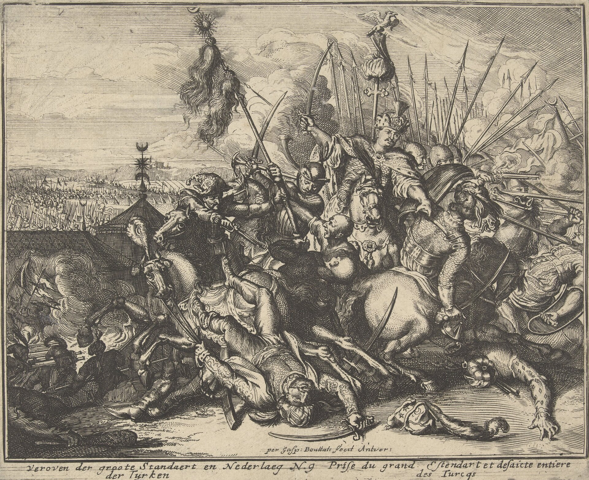 Oblężenie Wiednia 1683 Klęska armii osmańskiej wczasie oblężenia Wiednia. Źródło: Jacob Peeters, Oblężenie Wiednia 1683, 1686, akwaforta, Rijksmuseum (hol. Muzeum Państwowe) wAmsterdamie, domena publiczna.