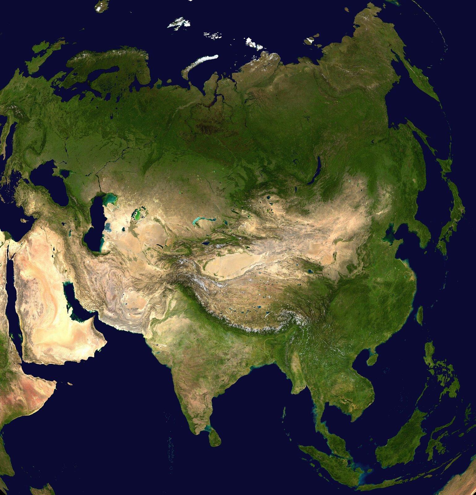 Ilustracja prezentuje mapę Eurazji. Kolorem zielonym oznaczono tereny nizinne, kolorem jasnobrązowym tereny wyżynne. Widać łańcuch Himalajów wpostaci grubego ciemnoszarego pasa onierównych brzegach.