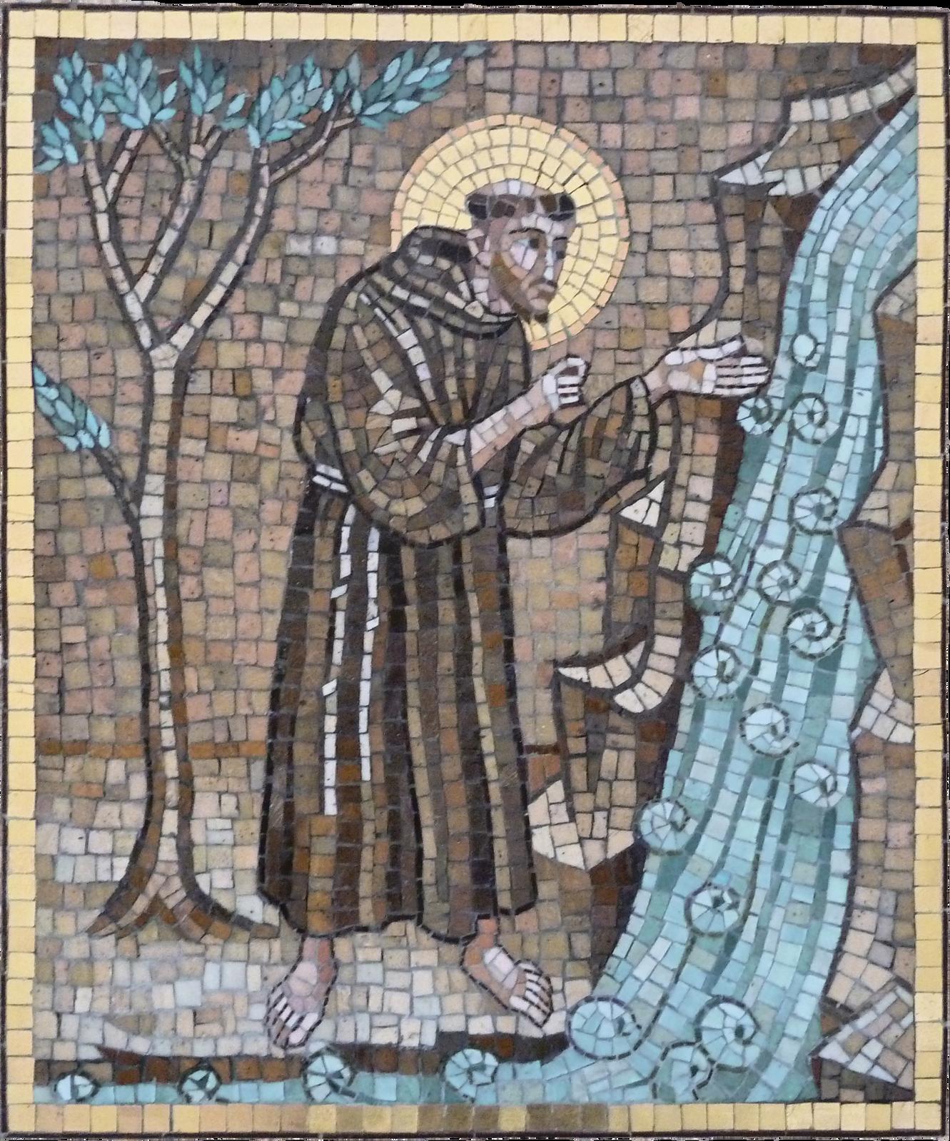 Święty Franciszek przemawiający do wody Mozaika stanowi ilustrację wersów Pieśni słonecznej. Źródło: Święty Franciszek przemawiający do wody, licencja: CC BY 2.0.
