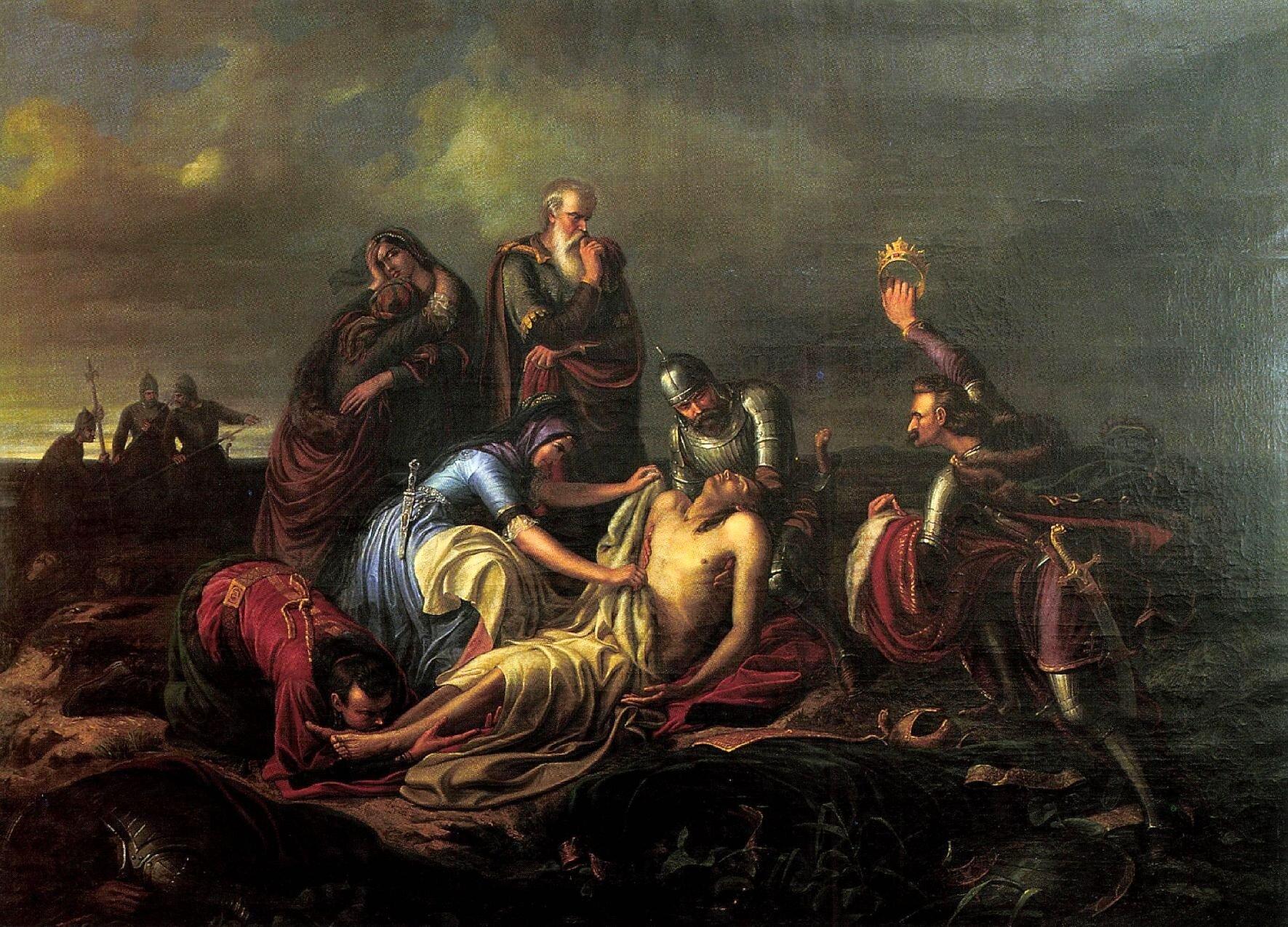 Odnalezienie ciała króla Ludwika II Ludwik IIprawdopodobnie utonąłwtrakcie ucieczki zpola bitwy, ajego zwłoki odnaleziono dopiero jakiś czas po bitwie. Wtrakcie sporu Ferdynanda IzJanem Zapolyą okoronę węgierską była rozpowszechniana innawersja- sprawcą śmierci króla miał być brat Jana - Jerzy Zapolya. Źródło: Soma Orlai Petrich, Odnalezienie ciała króla Ludwika II, 1851-1852, olej na płótnie, Biblioteka Uniwersytetu wDebreczynie, domena publiczna.
