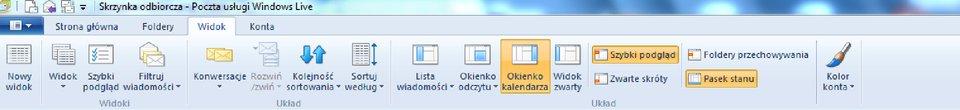 Widok wstążki programu Windows Live