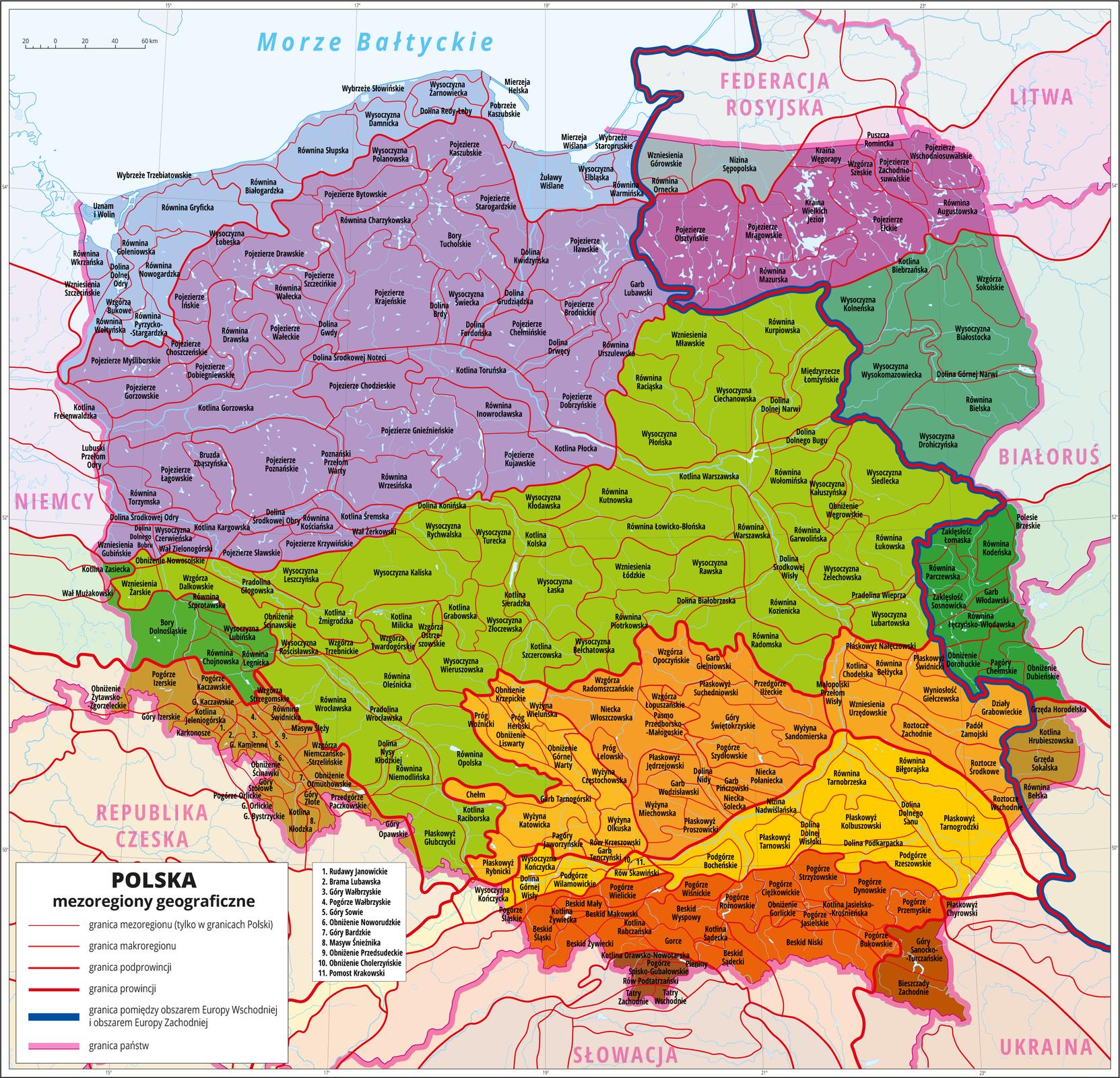 Ilustracja przedstawia mapę Polski zwydzielonymi różnymi odcieniami koloru czerwonego, pomarańczowego izielonego prowincjami geograficznymi. Zaznaczono granice między podprowincjami geograficznymi wramach wydzielonych wcześniej prowincji. Zaznaczono granice makroregionów wobrębie podprowincji. Wkażdej podprowincji wydzielono kilka makroregionów. Cienkimi szarymi liniami zaznaczono granice mezoregionów wobrębie makroregionów iopisano je. Wkażdym makroregionie wydzielono kilka mezoregionów.