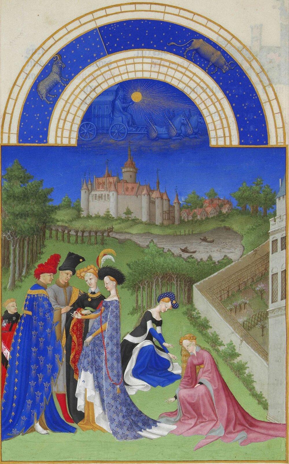Bracia Limbourg, Très Riches Heures du duc de Berry (Bardzo Bogate Godzinki księcia de Berry), miniatura zcyklu Kalendarza, ok. 1415, rękopis iluminowany, pergamin, 29 x21 cm, Musée Condé, Chantilly Bracia Limbourg, Très Riches Heures du duc de Berry (Bardzo Bogate Godzinki księcia de Berry), miniatura zcyklu Kalendarza, ok. 1415, rękopis iluminowany, pergamin, 29 x21 cm, Musée Condé, Chantilly Źródło: Bracia Limbourg, między 1412 a1416, Musée Condé, domena publiczna.