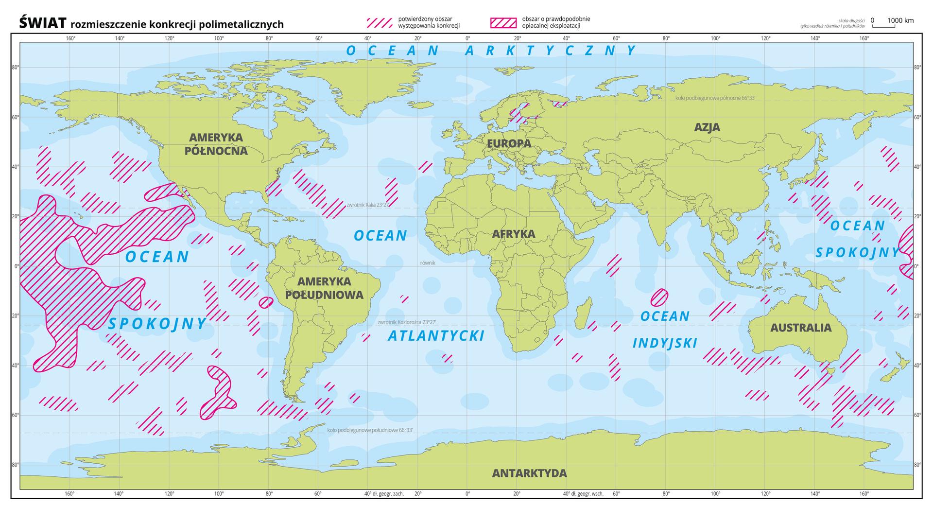 Ilustracja przedstawia mapę świata. Wody zaznaczono kolorem niebieskim, kontynenty zaznaczono zielonym. Opisano kontynenty ioceany.Na mapie czerwonymi liniami zakreskowano obszary występowania konkrecji polimetalicznych na dnie oceanów. Dodatkowo czerwoną linią obwiedziono niektóre zakreskowane wcześniej obszary, na których prawdopodobnie opłacalna jest eksploatacja konkrecji polimetalicznych.Najwięcej zakreskowanych obszarów występuje na Oceanie Spokojnym, pojedyncze na Oceanie Indyjskim inieliczne na Oceanie Atlantyckim, wZatoce Botnickiej iZatoce Fińskiej.Mapa pokryta jest równoleżnikami ipołudnikami. Dookoła mapy wbiałej ramce opisano współrzędne geograficzne co dwadzieścia stopni.Na górze wlegendzie mapy objaśniono znaki użyte na mapie.
