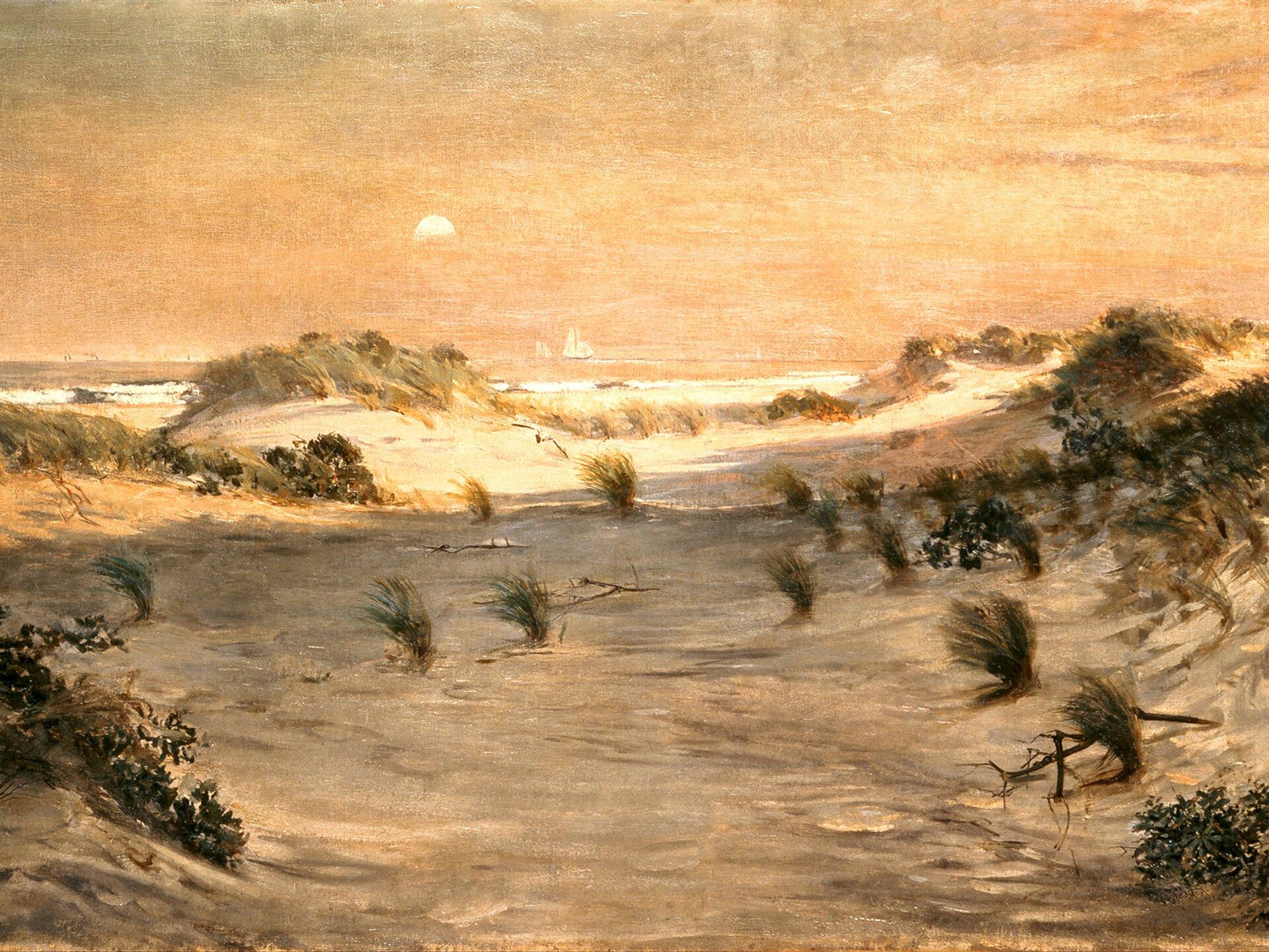 Wydmy ozachodzie słońca, Atlantic City Źródło: Henry Ossawa Tanner, Wydmy ozachodzie słońca, Atlantic City, ok. 1885, olej na płótnie, domena publiczna.
