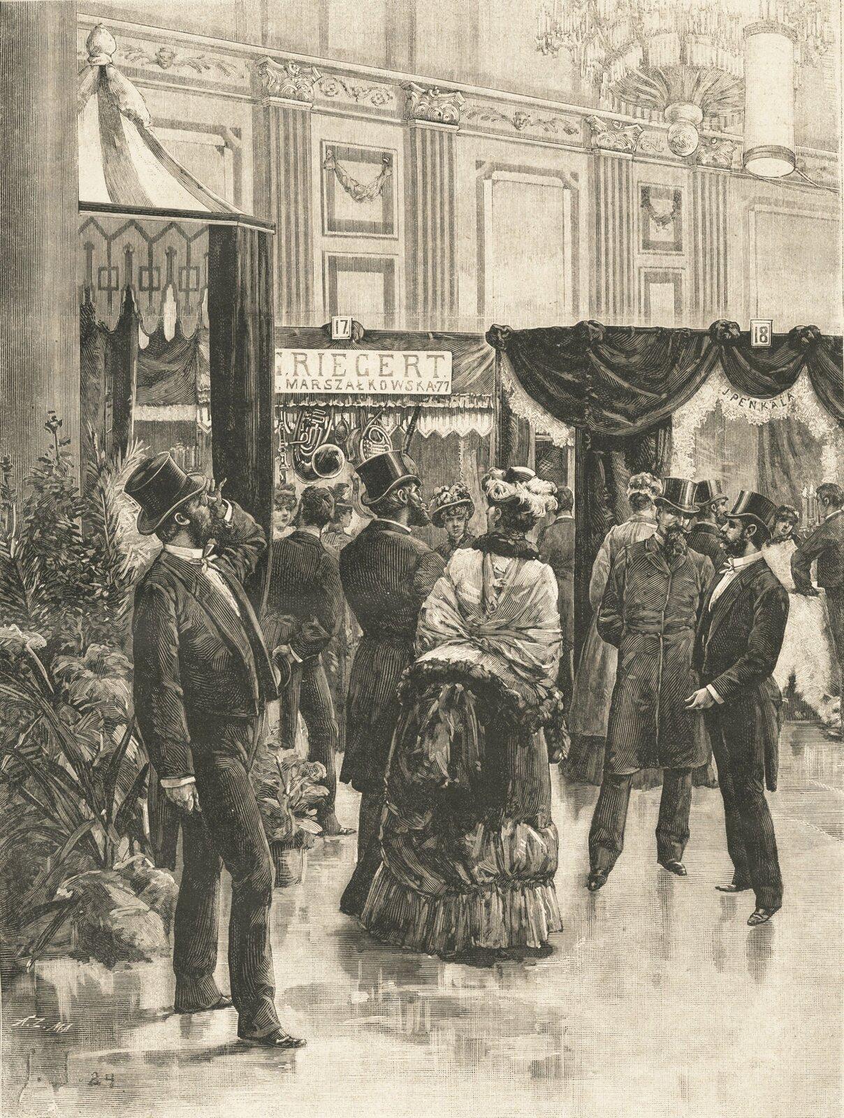 Ilustracja prezentuje elegancki salon warszawski okresu XIX wieku. Spacerują wnim elegancko ubrani ludzie, zarówno kobiety jak imężczyźni.