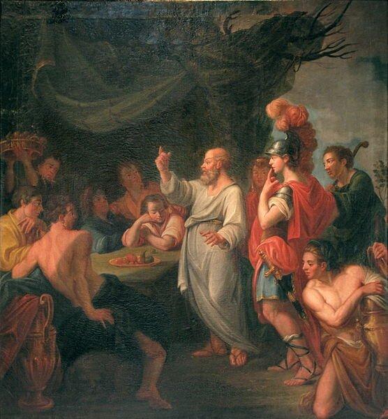 Sokrates uczący Peryklesa Źródło: Nicolas Guibal, Sokrates uczący Peryklesa, 1780, olej na płótnie, Landesmuseum Württemberg, licencja: CC BY 2.0.