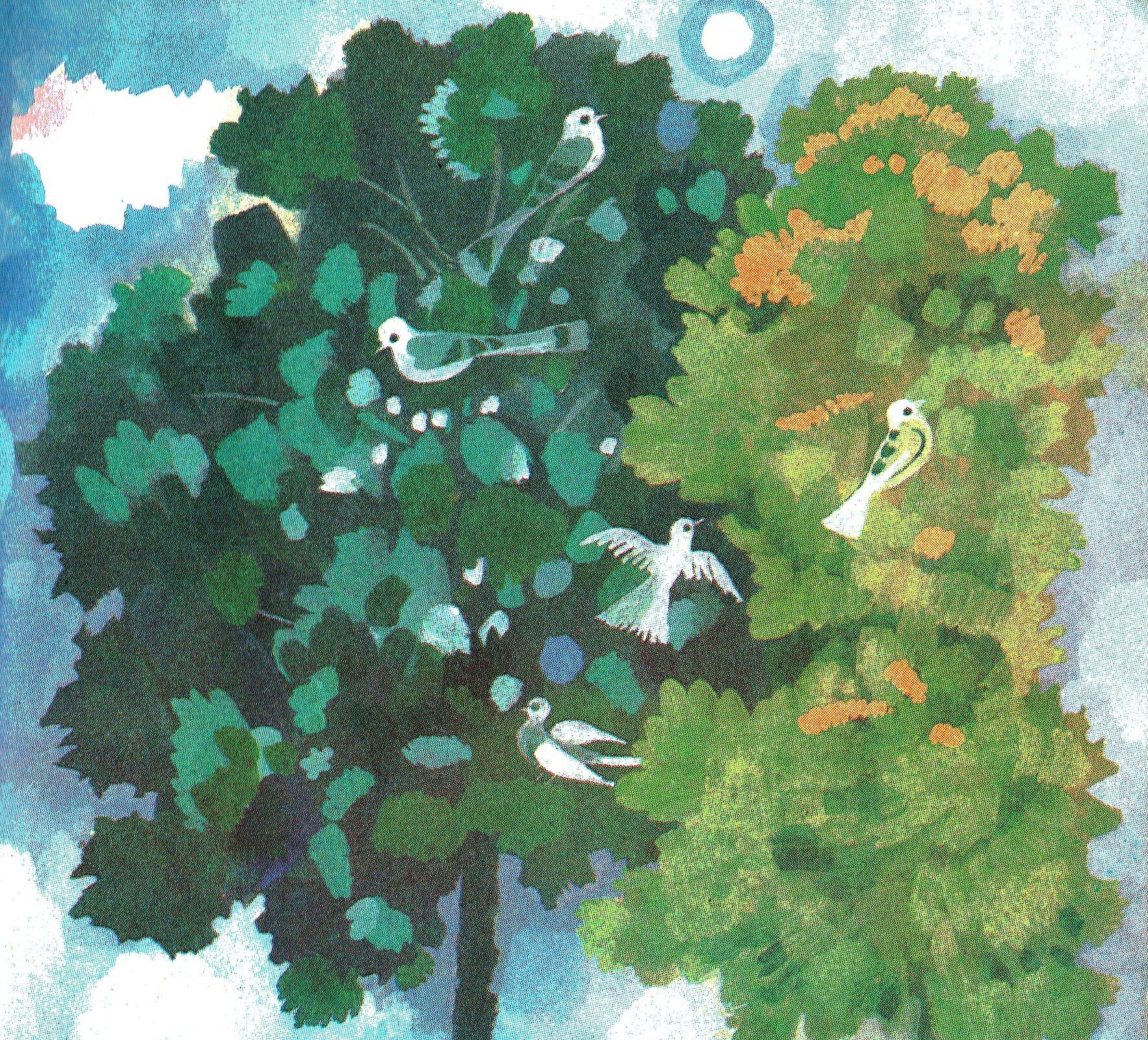Ilustracja przedstawia grafikę zksiążki dla dzieci Józefa Ratajczaka, ukazującą dwie korony drzew zptakami. Tłem jest błękitne niebo.