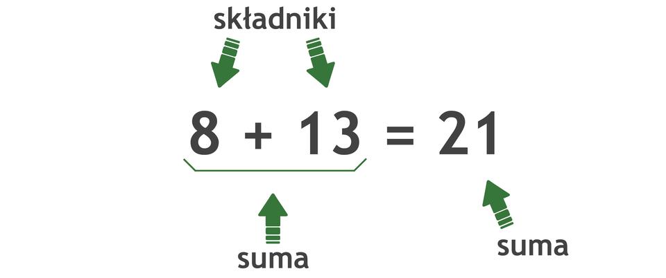 Działanie: 8 +13 =21. Liczby dodawane to składniki. Wynik dodawania to suma.