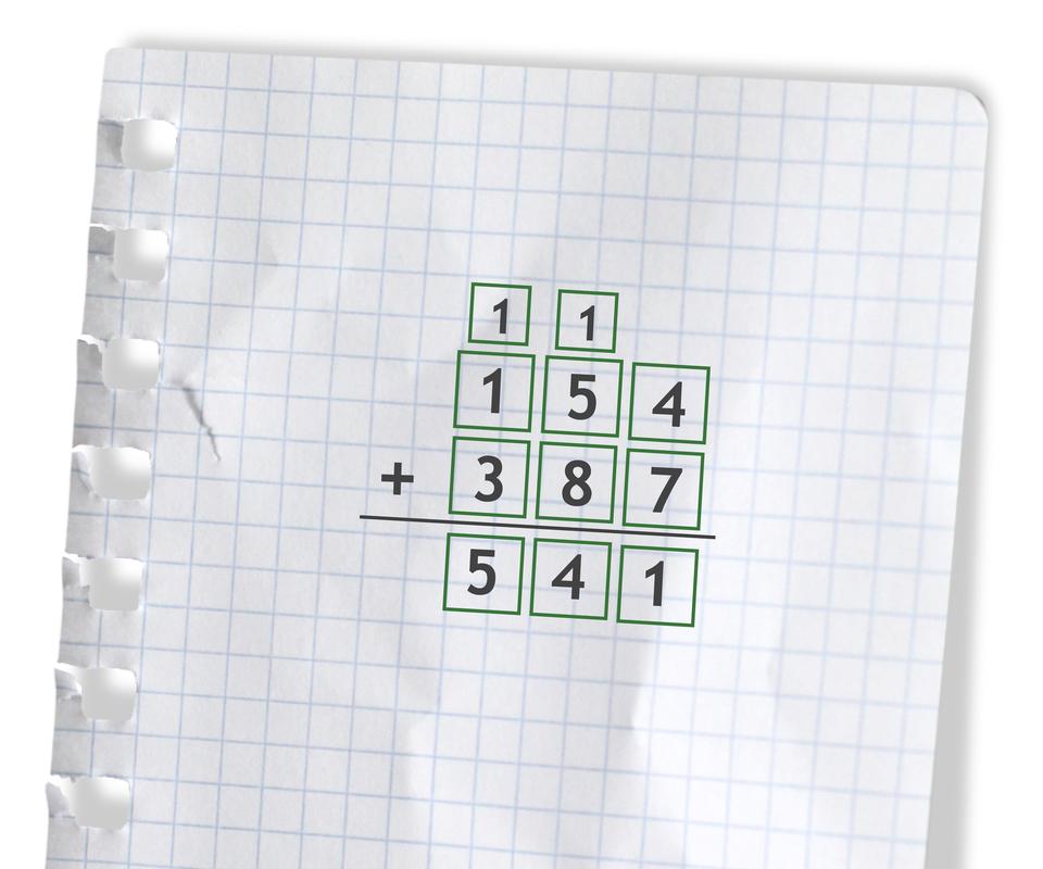 Przykład: 154 +387 =541. Rozwiązanie zadania podpunkt c.