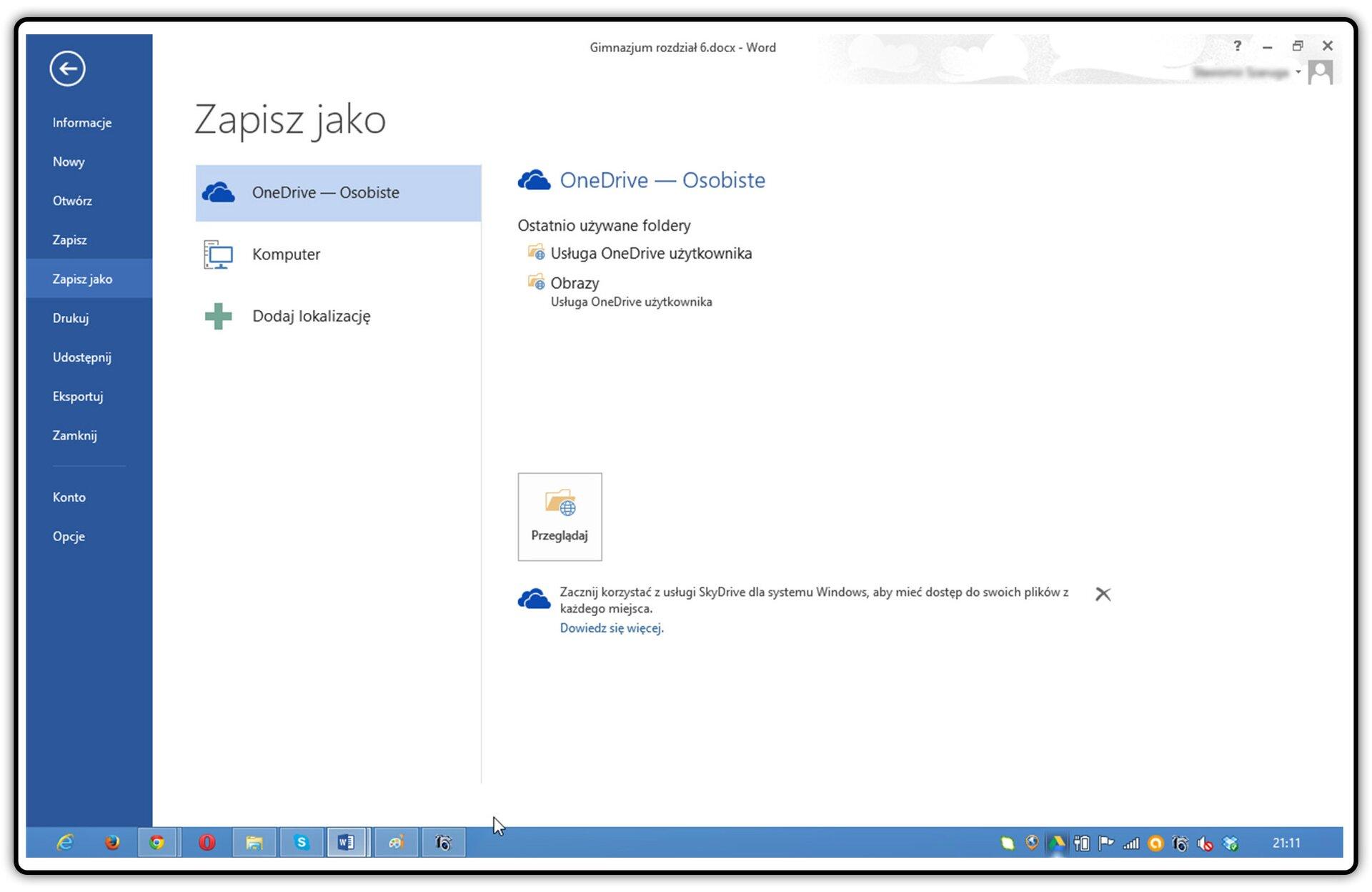Zrzut okna zapisywania zzaznaczonym dyskiem OneDrive