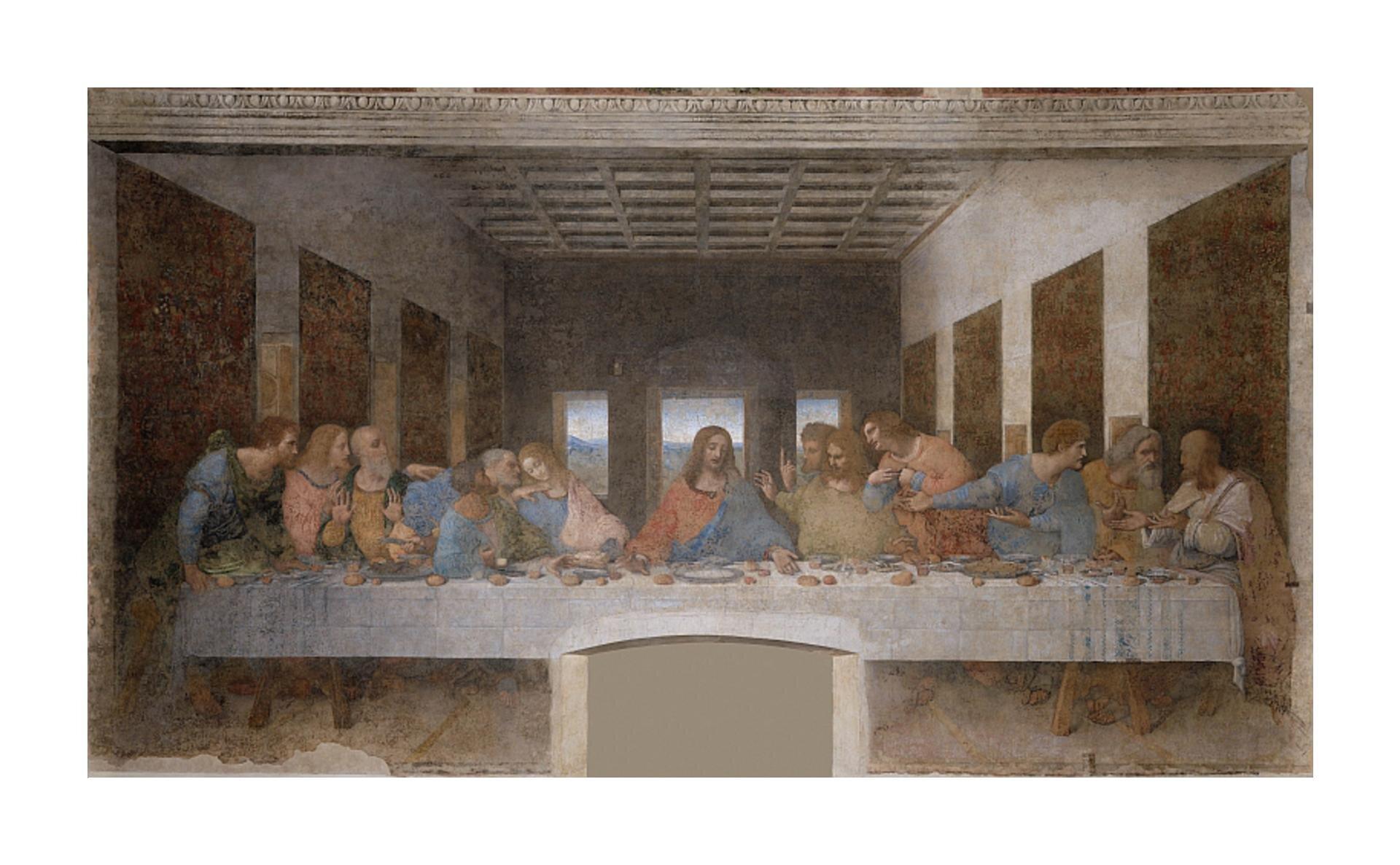 Fresk przedstawia moment, wktórym Jezus ogłasza, iż jeden zapostołów go zdradzi. Wprzestrzennej sali znajduje się wielki stół, za którym zasiada trzynaście postaci zwróconych twarzami wstronę odbiorcy. Jezus siedzi na środku odziany wczerwoną ibłękitną szatę. Jest to wieczerza, ana stole przykrytym białym obrusem stoją naczynia ibochenki chleba. Jezus ma rozłożone ręce, które wskazują na chleb. Pozostali żywo ze sobą rozmawiają. Apostołowie są podzieleni na cztery grupy po trzech. Ściany isklepienie mają blade odcienie. Na końcu pomieszczenia znajdują się trzy okna.