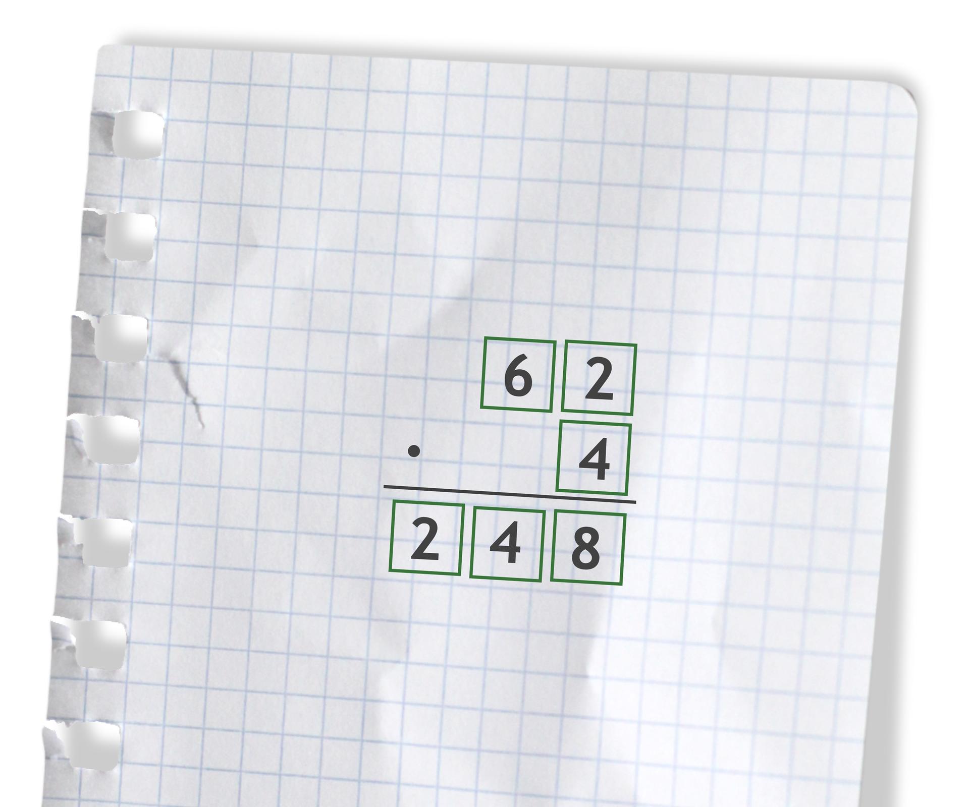 Przykład: 62 razy 4 =248. Rozwiązanie zadania podpunkt d.