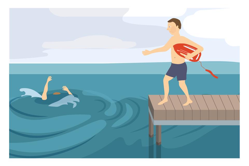 Ilustracja 5. Po prawej stronie ilustracji mieści się drewniany pomost nad wodą. Na pomoście mężczyzna wkąpielówkach biegnie wlewo, wkierunku osoby tonącej. Mężczyzna trzyma plastikową pomarańczową boję po lewą pachą. Boja wkształcie wrzeciona. Po obu stronach uchwyty. Na końcu zaczepiona linka. Na lewo od pomostu osoba tonąca. Nad powierzchnią wody wyprostowane ręce osoby tonącej. Instrukcja: jeżeli musisz wejść do wody, weź ze sobą coś pływającego.