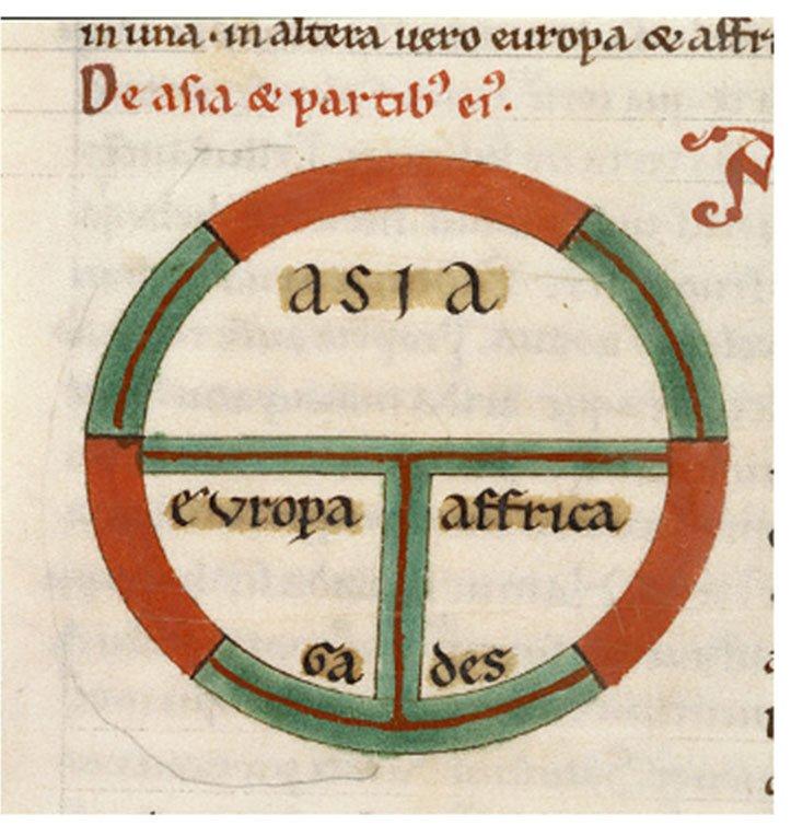 Zaczerpnięty ze starożytności, schemat budowy ziemi Źródło: Zaczerpnięty ze starożytności, schemat budowy ziemi, British Library, licencja: CC 0.