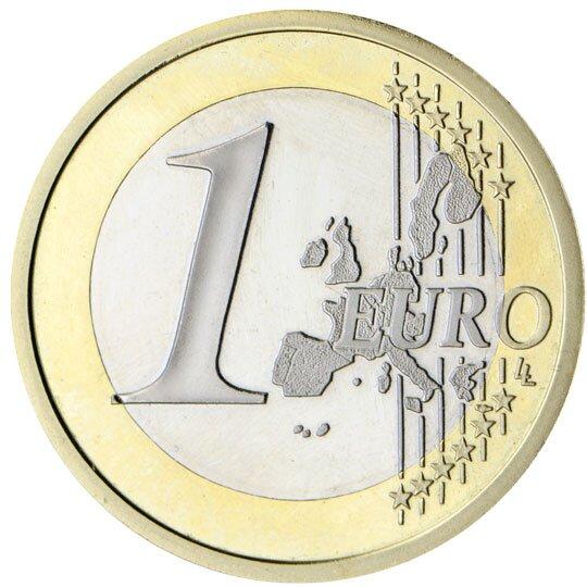 Ilustracja przedstawia awers monety owartości jednego euro. Po środku duża jedynka obok napis: euro na tle zarysu mapy Europy iotaczające go dwanaście gwiazd.