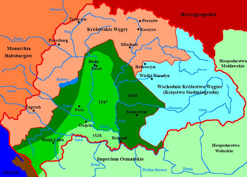 Podział Węgier w1526-1568 Podział Węgier dokonanywlatach1526-1568. Źródło: Mix321, Podział Węgier w1526-1568, 2007, licencja: CC BY-SA 3.0.