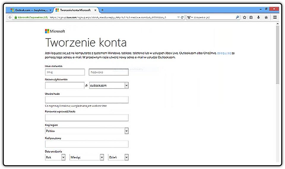Slajd 3 galerii zrzutów okien zakładania konta pocztowego na wybranych portalach internetowych