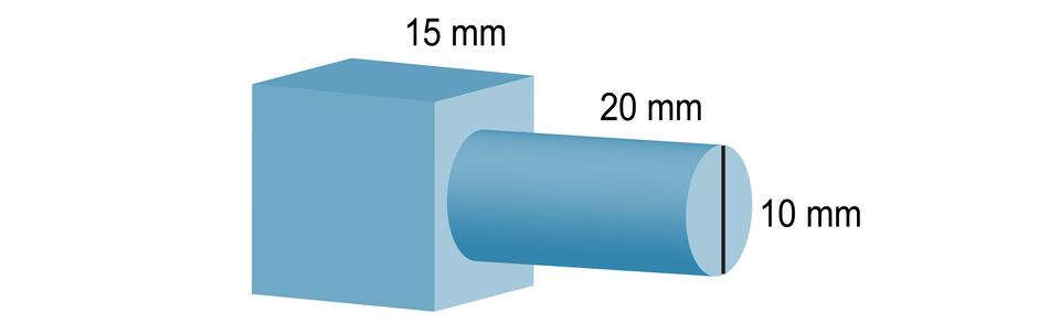 Rysunek bryły zbudowanej zsześcianu okrawędzi równej 15 mm oraz walca owysokości 20 mm iśrednicy podstawy 10 mm. Walec jest doklejony do ściany bocznej sześcianu.