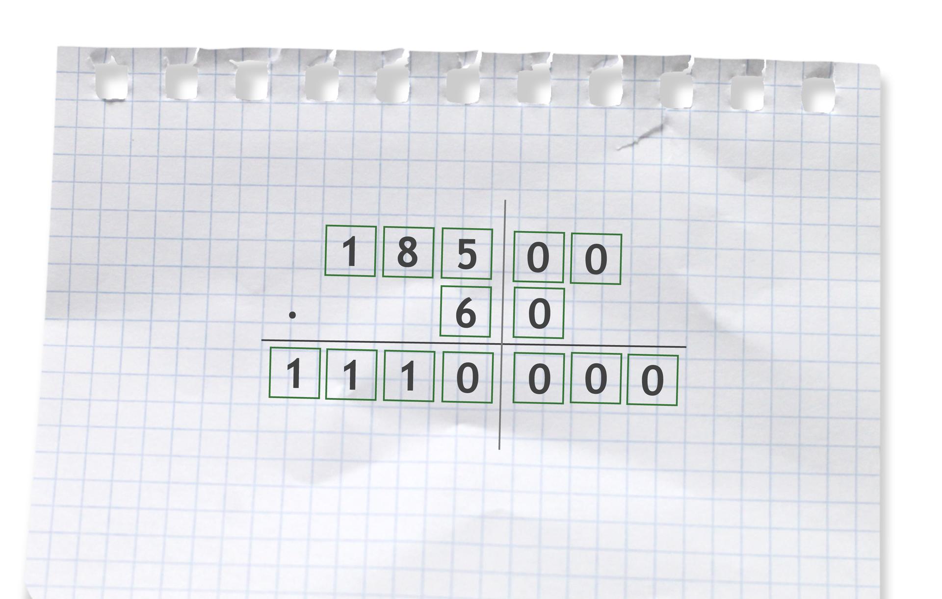 Przykład: 18500 razy 60 =1110000. Rozwiązanie zadania podpunkt b.