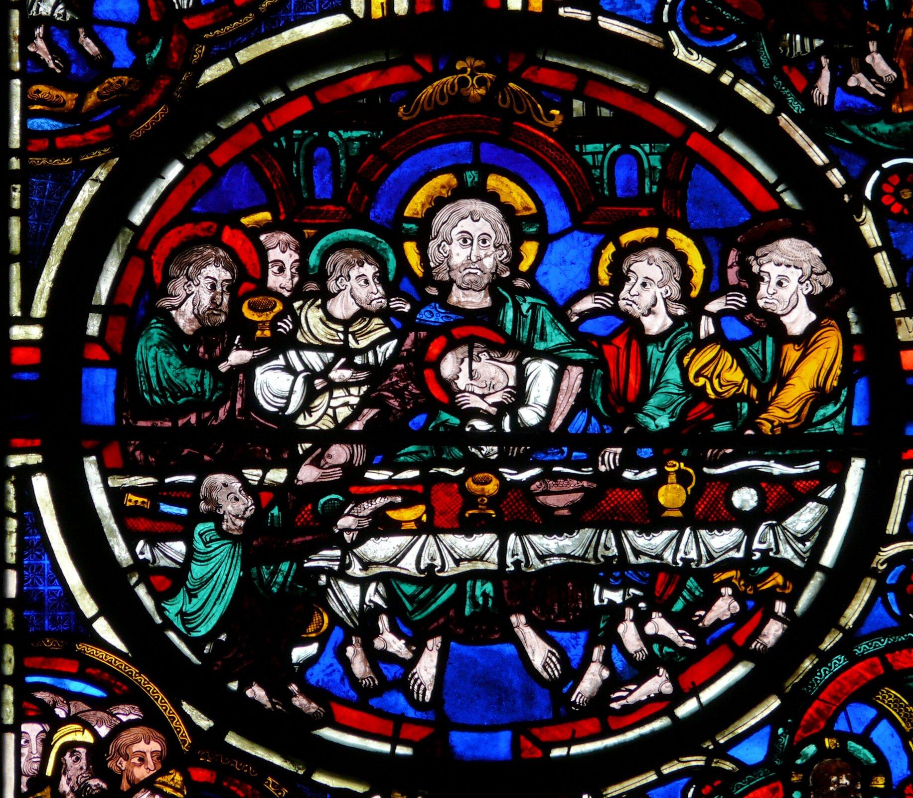 Witraż wkatedrze Saint-Étienne wBurges, początek XIII wieku Witraż wkatedrze Saint-Étienne wBurges, początek XIII wieku Źródło: MOSSOT, licencja: CC BY 3.0.