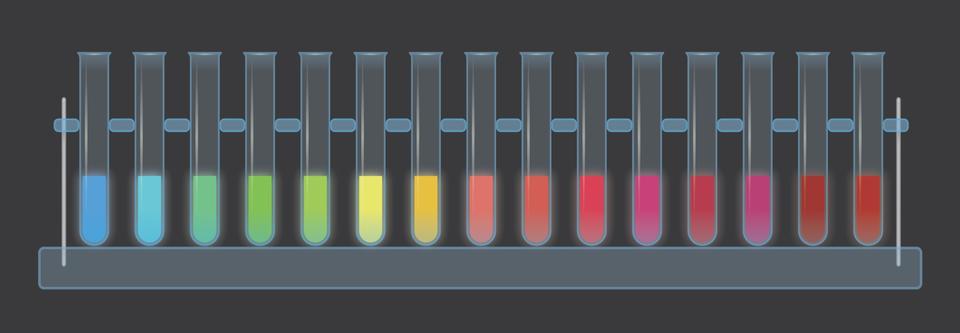 Ilustracja przestawia szereg probówek na stojaku. Ich zawartość ma różne barwy. Jest to białko GFP zmodyfikowane genetycznie.