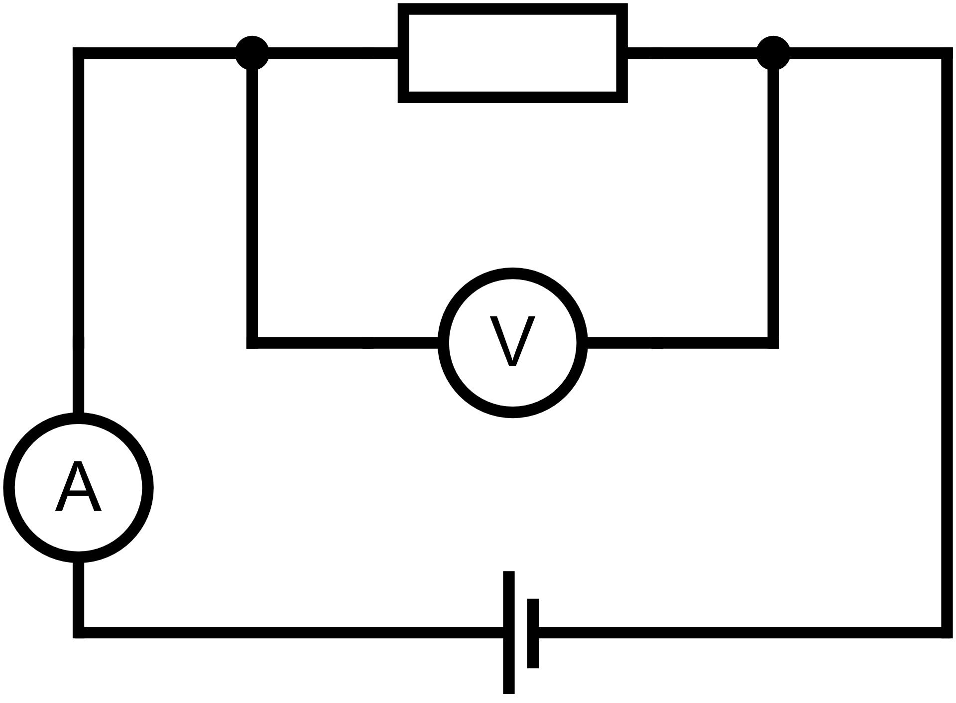 Schemat prostego obwodu elektrycznego do badania zależności natężenia prądu od wartości napięcia