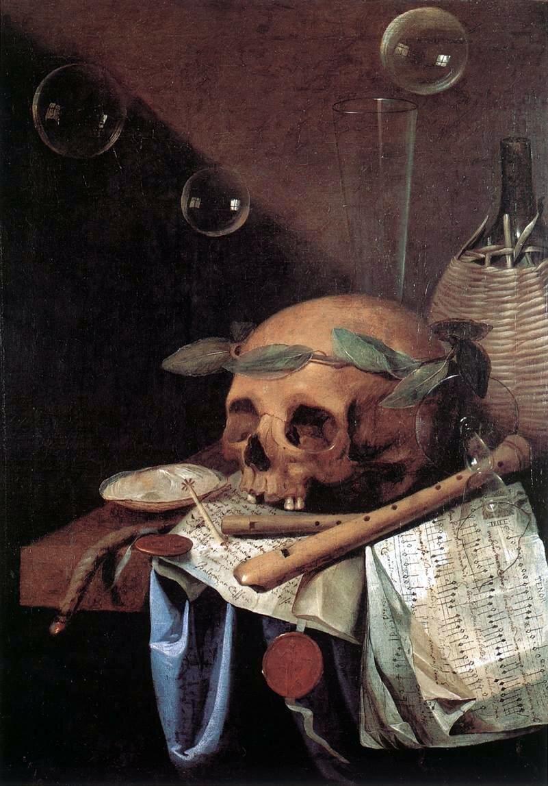 Vanitas Źródło: Simon Renard de Saint-André, Vanitas, 1650, olej na płótnie, Musée des Beaux-Arts, Lyon, domena publiczna.