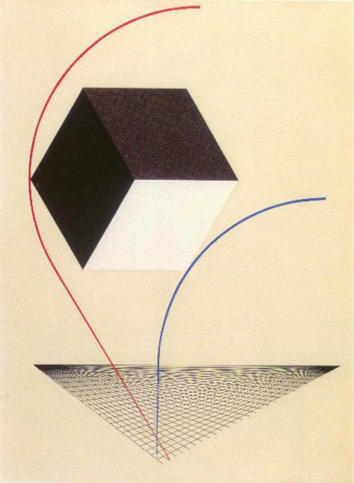 """Ilustracja przedstawia obraz Ela Lissitzky'ego pt. """"Proun"""". Ukazuje on biało-czarny sześcian na beżowym tle. Pod nim znajdują się 2 linie oraz siatka wkształcie trójkąta."""