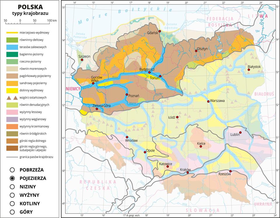 Ilustracja przedstawia mapę Polski. Na mapie za pomocą kolorów przedstawiono typy krajobrazu. Na mapie przedstawiono iopisano rzeki ijeziora, miasta, przedstawiono granice Polski igranice województw, opisano nazwy państw sąsiadujących. Szarymi liniami przedstawiono granice pasów krajobrazu. Mapa składa się zwarstw, które można dowolnie wyłączać. Na kolejnych warstwach przedstawiono jakie typy krajobrazu występują wposzczególnych pasach rzeźby terenu, wśród których wydzielono: pobrzeża, pojezierza, niziny, wyżyny, kotliny igóry. Warstwa pojezierzy: Kolorem ciemnobeżowym oznaczono pagórkowaty krajobraz pojezierny, który zajmuje przeważającą część tego pasa krajobrazu, kolorem jasnopomarańczowym oznaczono typ krajobrazu sandrowego, akolorem niebieskim krajobraz terasów zalewowych wdolinach rzek.