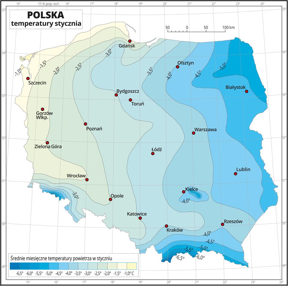 Ilustracja przedstawia mapę Polski. Na mapie kolorami zaznaczono średnie miesięczne temperatury powietrza wstyczniu. Zlewej strony mapy kolor jest żółty, wkierunku wschodnim, wprawo ipołudniowym, wdół mapy przechodzi wbłękitny, dalej niebieski iciemnoniebieski. Na izotermach opisano średnią miesięczną temperaturę stycznia co pół stopnia. Czerwonymi punktami zaznaczono miasta wojewódzkie. Mapa pokryta jest siatką równoleżników ipołudników. Dookoła mapy jest biała ramka, wktórej opisane są współrzędne geograficzne co jeden stopień. Poniżej mapy wlegendzie umieszczono prostokątny poziomy pasek. Pasek podzielono na trzynaście kolorów. Zlewej strony ciemnoniebieskie do jasnoniebieskiego, środek błękitny, zprawej strony –seledynowy, kremowy iżółty. Każda część paska obrazuje półstopniowy przedział średniej miesięcznej temperatury powietrza wstyczniu od minus sześć ipół stopnia Celsjusza – niebieskie do minus jeden stopnia Celsjusza – żółte, co pół stopnia.