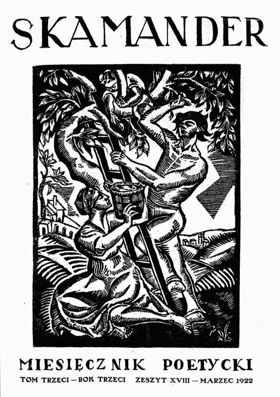 """Okładka czasopisma """"Skamander"""" z1922 r. Źródło: Roman Kramsztyk, Okładka czasopisma """"Skamander"""" z1922 r., domena publiczna."""