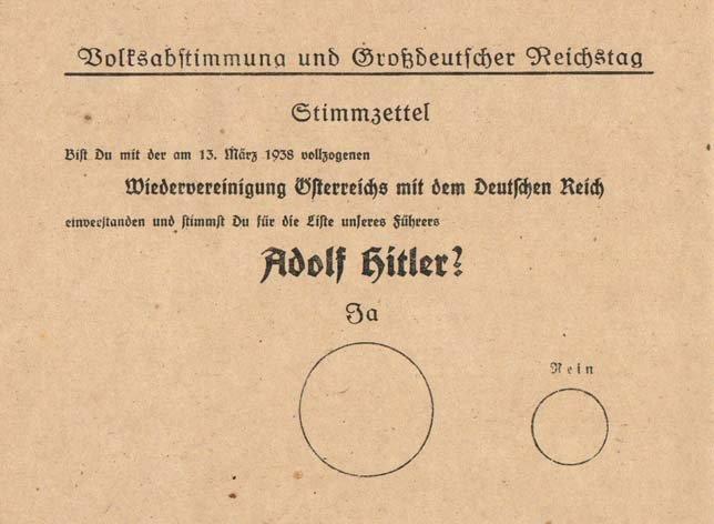 Karta do głosowania za czy przeciw przyłączeniu Austrii do Niemiec Karta do głosowania za czy przeciw przyłączeniu Austrii do Niemiec Źródło: domena publiczna.