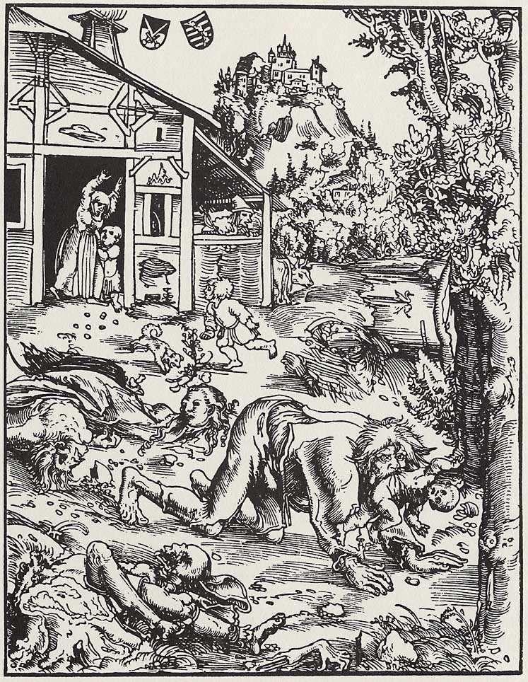 Wilkołak Źródło: Lucas Cranach starszy, Wilkołak, ok. 1512, drzeworyt, Herzogliche Museum, Gotha, Niemcy, domena publiczna.