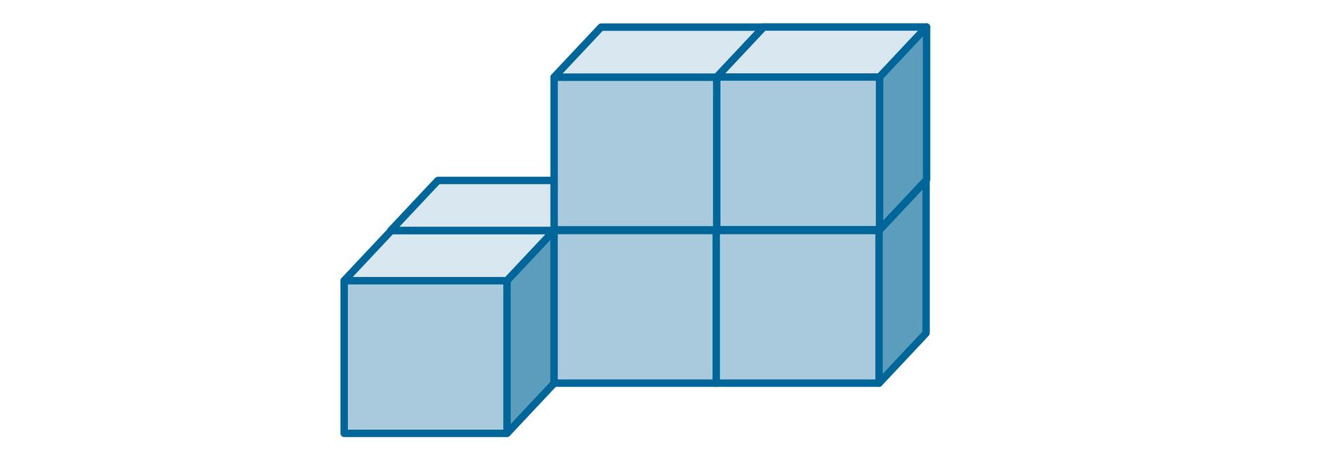 Rysunek bryły złożonej zsześciu jednakowych sześcianów.