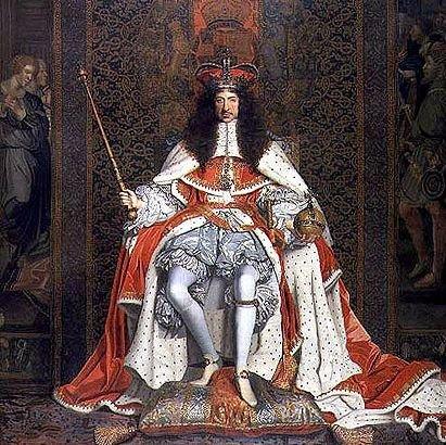 Karol II Stuart wstroju koronacyjnym KarolII Stuart wstroju koronacyjnym. Obraz namalowany przez Johna Michaela Wrighta ok. 1661 r.,obecnie przechowywany wZbiorach Królewskich. Źródło: John Michael Wright, Karol II Stuart wstroju koronacyjnym, ok. 1661-1662, olej na płotnie, Royal Collection, domena publiczna.
