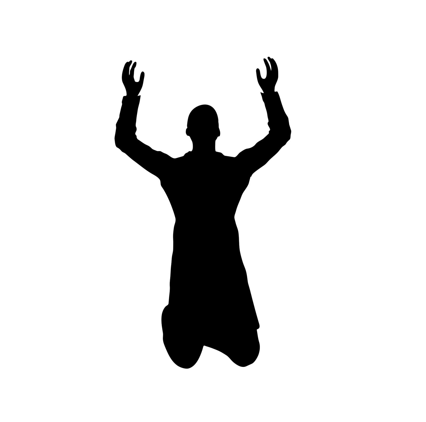 Ilustracja przedstawia sylwetkę mężczyzny, który klęczy ima uniesione dłonie do góry.