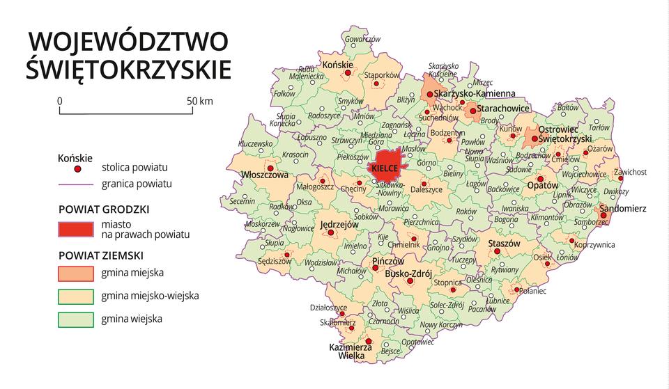 Mapa województwa świętokrzyskiego. Na mapie fioletowymi liniami zaznaczono granice powiatów ziemskich, dużymi czerwonymi kropkami zaznaczono miasta będące stolicami powiatów. Wobrębie powiatów ziemskich kolorami wyróżniono gminy miejskie, miejsko-wiejskie iwiejskie. Czerwonym kolorem wyróżniono powiaty grodzkie zmiastami na prawach powiatu, miasta te opisano dużymi literami. Kolory iznaki użyte na mapie opisano wlegendzie. Wlegendzie podziałka liniowa.