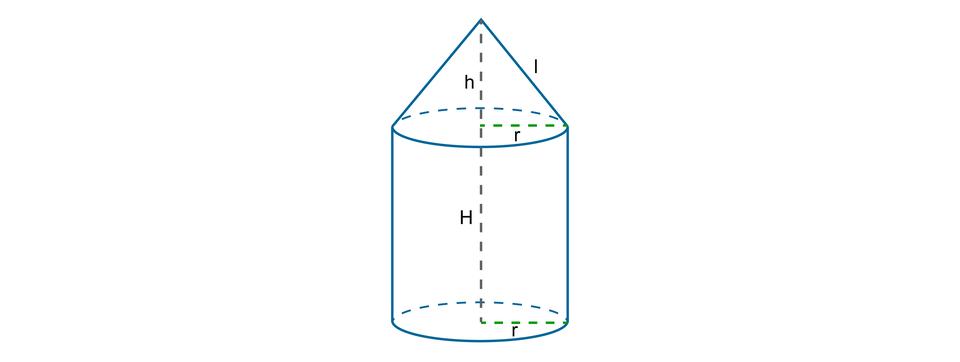 Rysunek walca iumieszczonego na nim stożka opromieniach podstaw długości r. Wysokość walca równa jest H, wysokość stożka długości horaz tworząca stożka równa l.
